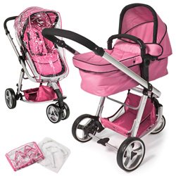 Barnevogn 3-hjul lyserød