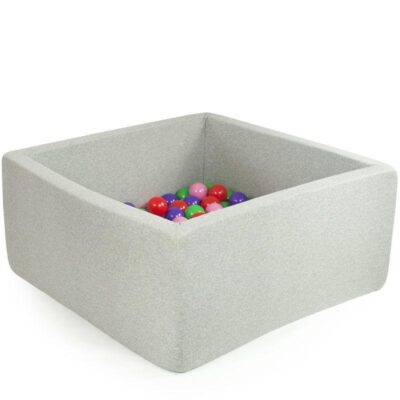 Misioo boldbassin lysegrå - firkantet 90x90x40 (inkl. 200 bolde)