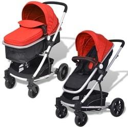 vidaXL 2-i-1 klapvogn/barnevogn aluminium rød/sort