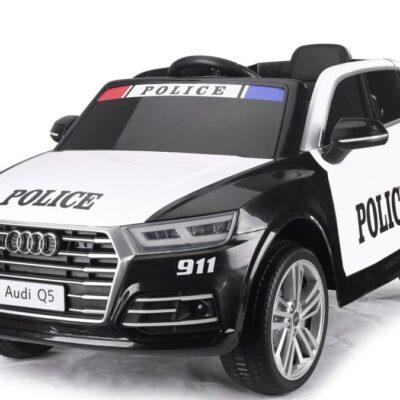 Audi Q5 Politibil Elbil til Børn 12V m/2.4G, Lædersæde, Gummihjul