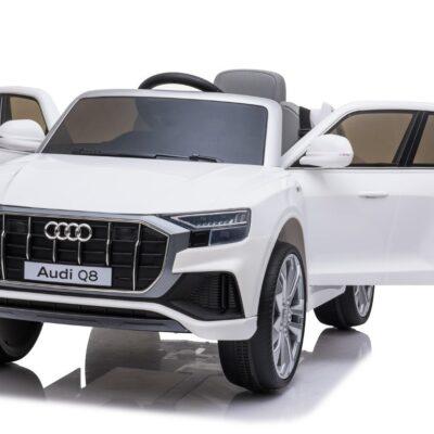 Audi Q8 Elbil til børn 12v Hvid m/Gummihjul + 2.4G + Lædersæde