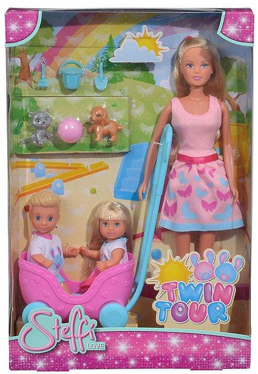 Steffi Love - Dukke Med Evi Og Tvillinger I Barnevogn - Twin Tour - Pink